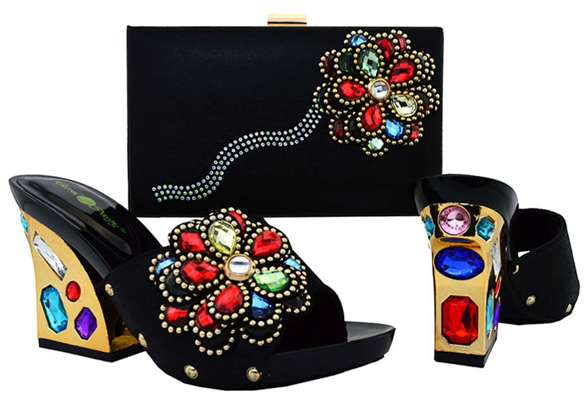 ФОТО 2016 new arrival fashion Italian shoes with matching bags set for wedding and party African shoes and bag sets !DL1-1