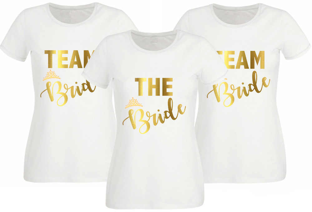0cff10ea9 Women Tops HEN PARTY T-SHIRT WHITE FITTED TOP TEAM BRIDE OPTION TO  PERSONALISE GOLD