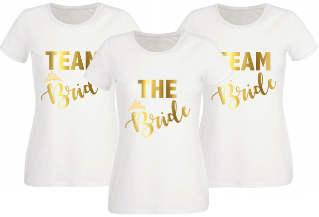 30162017ab US $8.99 |Women Tops HEN PARTY T SHIRT WHITE FITTED TOP TEAM BRIDE OPTION  TO PERSONALISE GOLD TEXT Wedding Gifts Dropshipping-in T-Shirts from  Women's ...