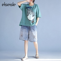 Totoro Cat Print T Shirts Women 2017 Plus Size Yellow Summer Tops Harajuku Loose White T