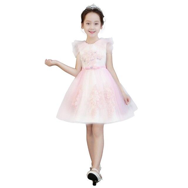 8b7f2a9472 New Summer 2018 Flower Girl Dress Kids Princess Dresses For Girls Wedding  Dress Elegant Pink Ball Gown Catwalk Dress