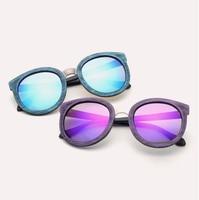 Laura Fairy Cool Imitate Wood Sunglasses Big Frame Mirrored UV400 Women Men Sun Glasses Material Patchwork