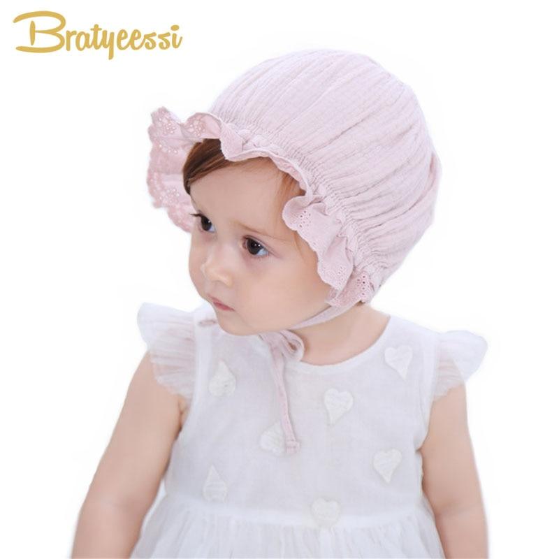 Νέο πριγκίπισσα Bonnet για τα κορίτσια Βρεφικό καπέλο για 4-18 μήνες ροζ / λευκό