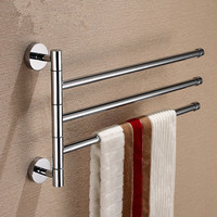 chrome brass Wall Shelf Chrome Finish Bathroom Three layer Swivel Towel Rack Holder towel Ring Bar free Shipping