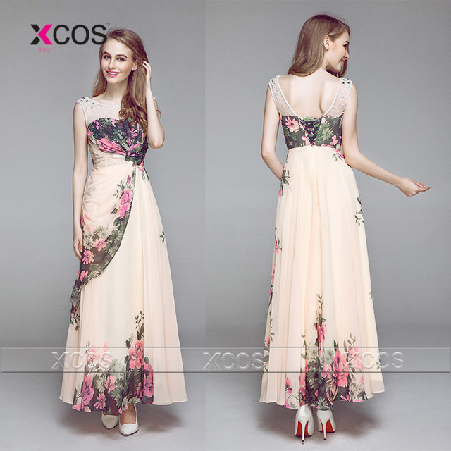 a6a99f483 Unique Plus Size estampado de flores de dama de honor vestidos gasa Floral  con cuentas largo