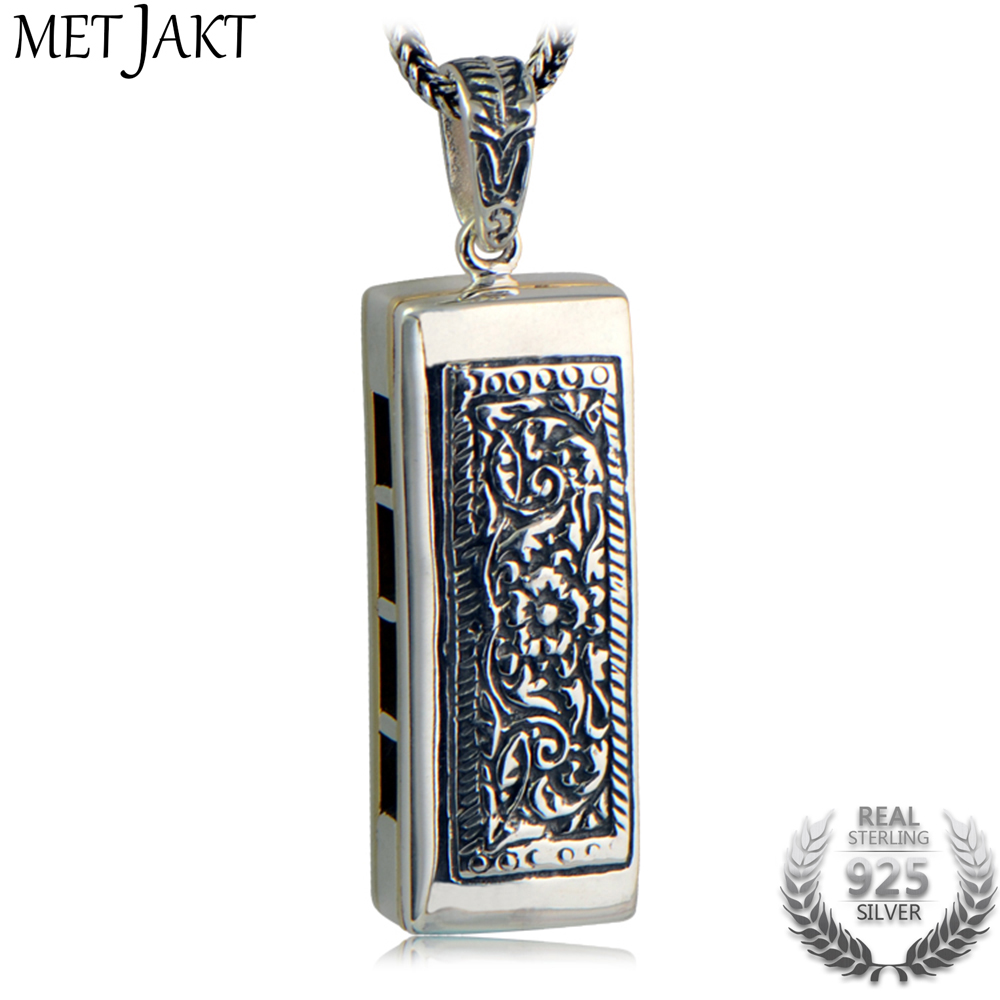 MetJakt Punk Silver Harmonica Necklace with Classic 1.6mm 925 Sterling Silver Snake Chain for Unisex Jewelry men 925 sterling silver necklace with 4 mm classic round snake chain necklace the punk style silver ornament gift for boyfriend