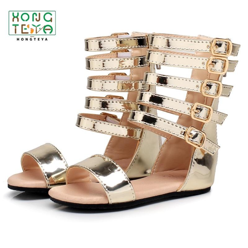 Fashion Summer Girls Roman Sandals Handmade Baby Sandals Kids Shoes Princess Shoes Non-slip Children Leathe Sandals For Kids