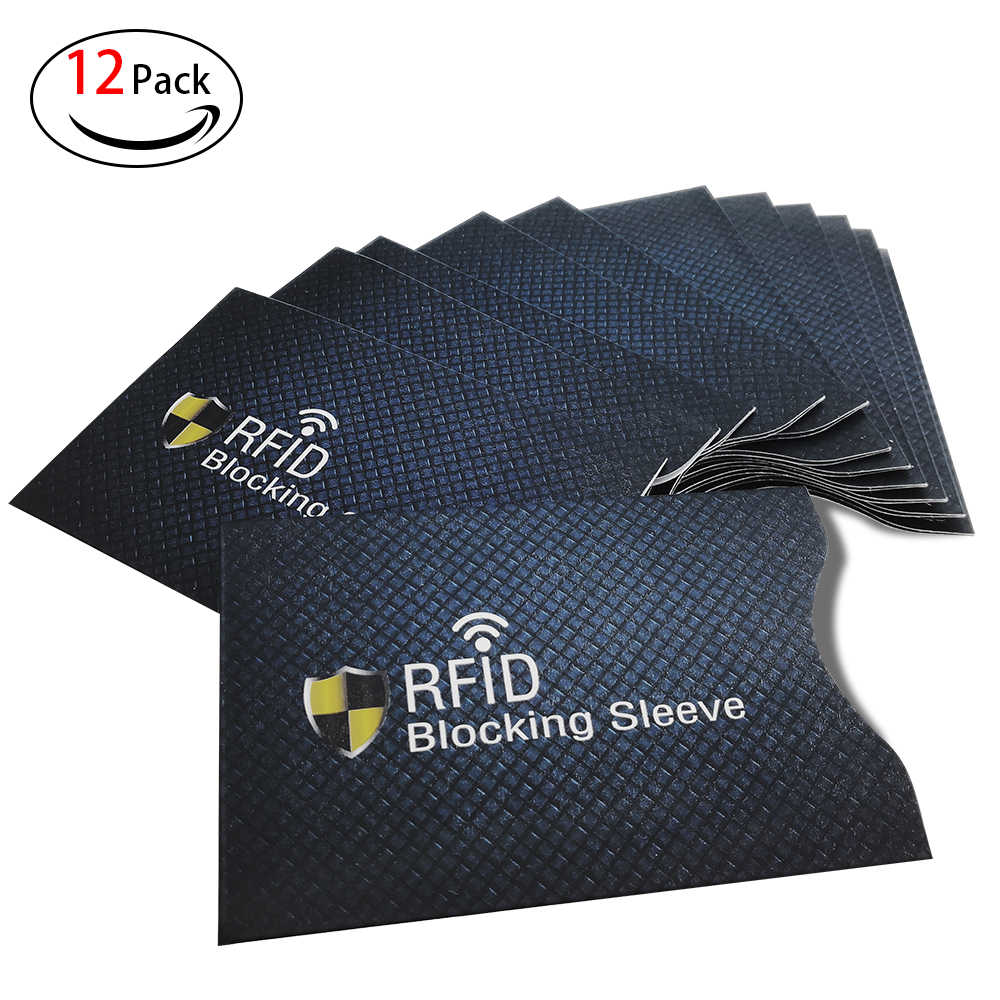 12 pcs RFID Credit Card Holder Sleeve Protective Shield Smart Fit Men Women Wallets Anti Theft Protection Net Weight 3g Blue