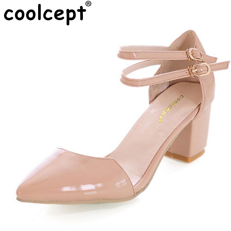 Coolcept Women Pointed Toe High Heel Sandals Patent Leather Party Lady Heeled Footwear Heels Shoes Woman