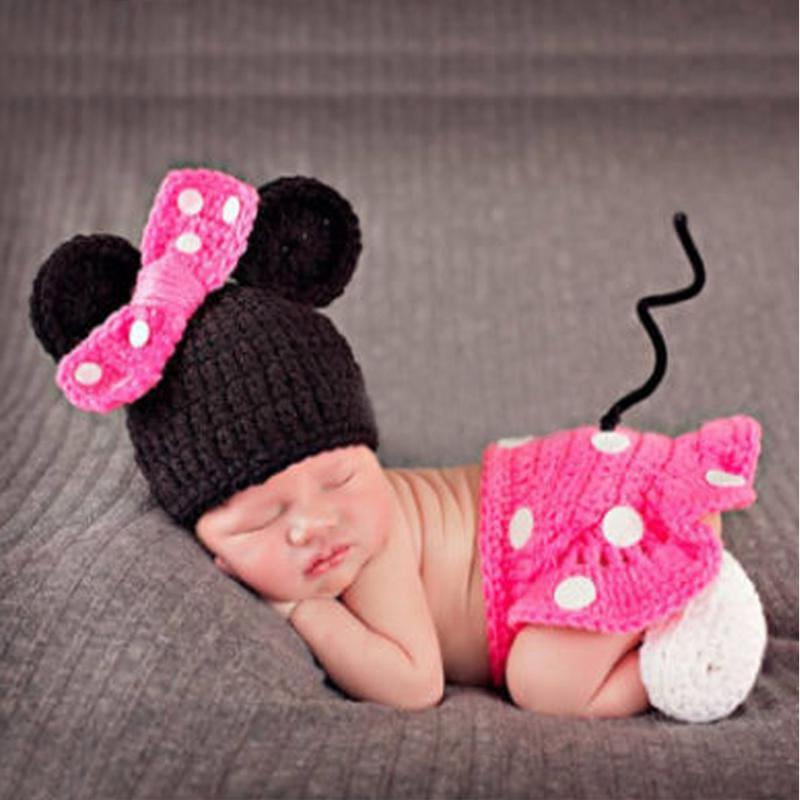 Мультфильм Мышь новорожденных Подставки для фотографий для маленьких девочек шляпа + юбка + Обувь для младенцев Fotografia новорожденных крючко...