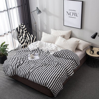 Simple Black White Stripe Duvet Cover Quilt Case 1pcs Bedding Soft 100%Cotton 1.2m/1.5m/ 1.8m/2m bed twin full Queen King Size