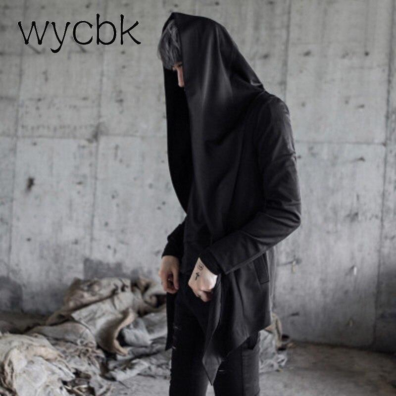 Wycbk Для мужчин куртка с капюшоном черное платье best качество хип-хоп мантии толстовки с капюшоном Длинные рукава плащ пальто Верхняя одежда м...
