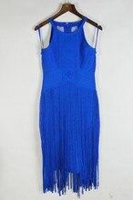 Brand New Vintage Elegant Blue Tassel HL Rayon Bandage Dress New Arrival Elegant Knitted Designer Dress L295