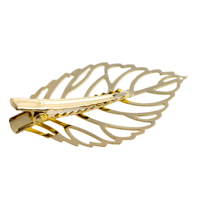 1Pc Gold Metal Leaf Hair Clip