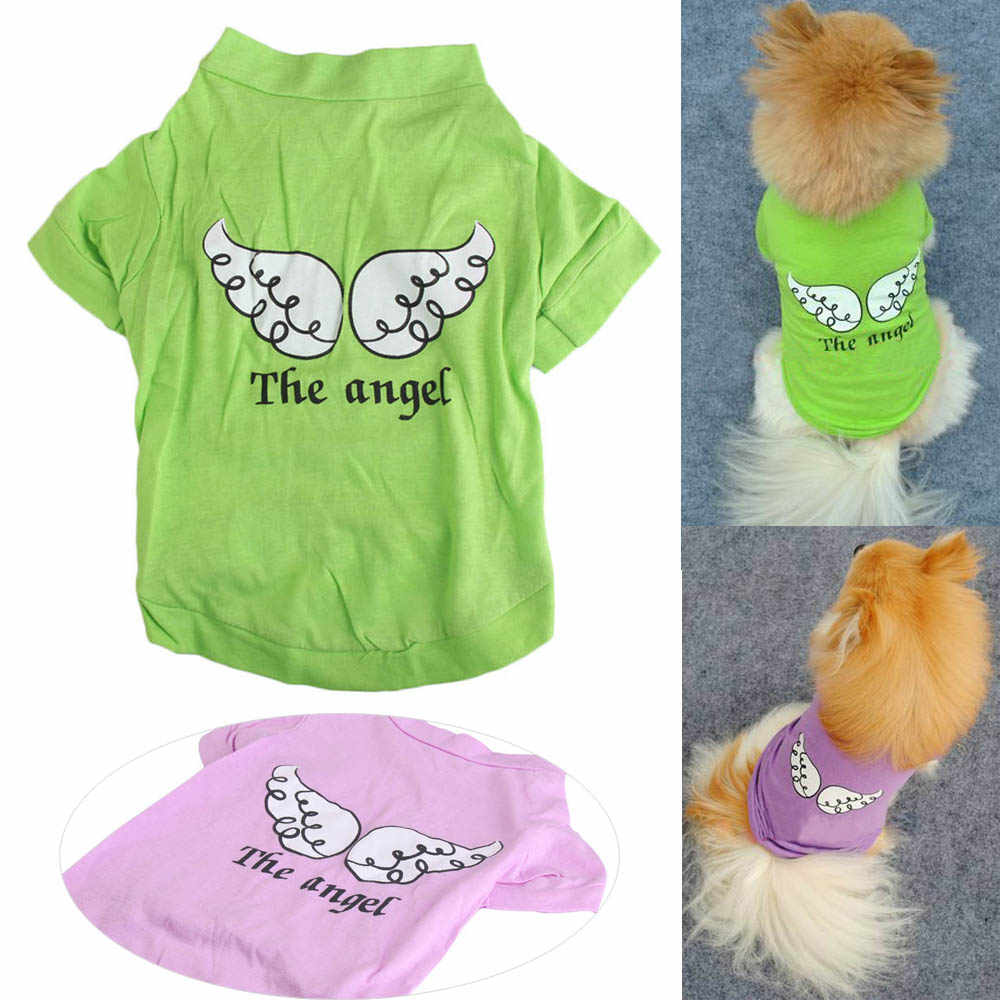 New Arrival Summer Dog Clothes Angel Printed Pet Puppy Small Dog Cat Clothes Vest T-Shirt Apparel Fly Wings Pattern Vest   BS