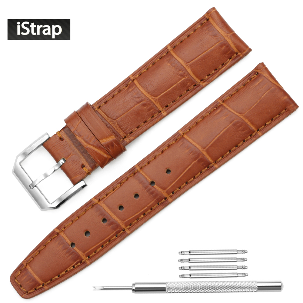 iStrap Watch Strap 20mm 21mm 22mm Honey Brown High Quality Genuine Leather Watchband Silver Replacement Band For IWC LONGINES istrap 22mm handmade genuine calf leather padded replacement watch band for men black 22