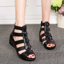 Roman shoes wedge flat sandals female summer middle-aged wit