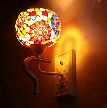 ФОТО European romatic colorful glass wall Lamps Modern charming iron lamp for foyer&bedside&porch&stairs&bathroom&TV wall ZLBD048