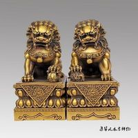 Big Large Pair Chinese Lion Foo Dog Statue Figure Sculpture Black yellow 10H Decoration 100% Brass