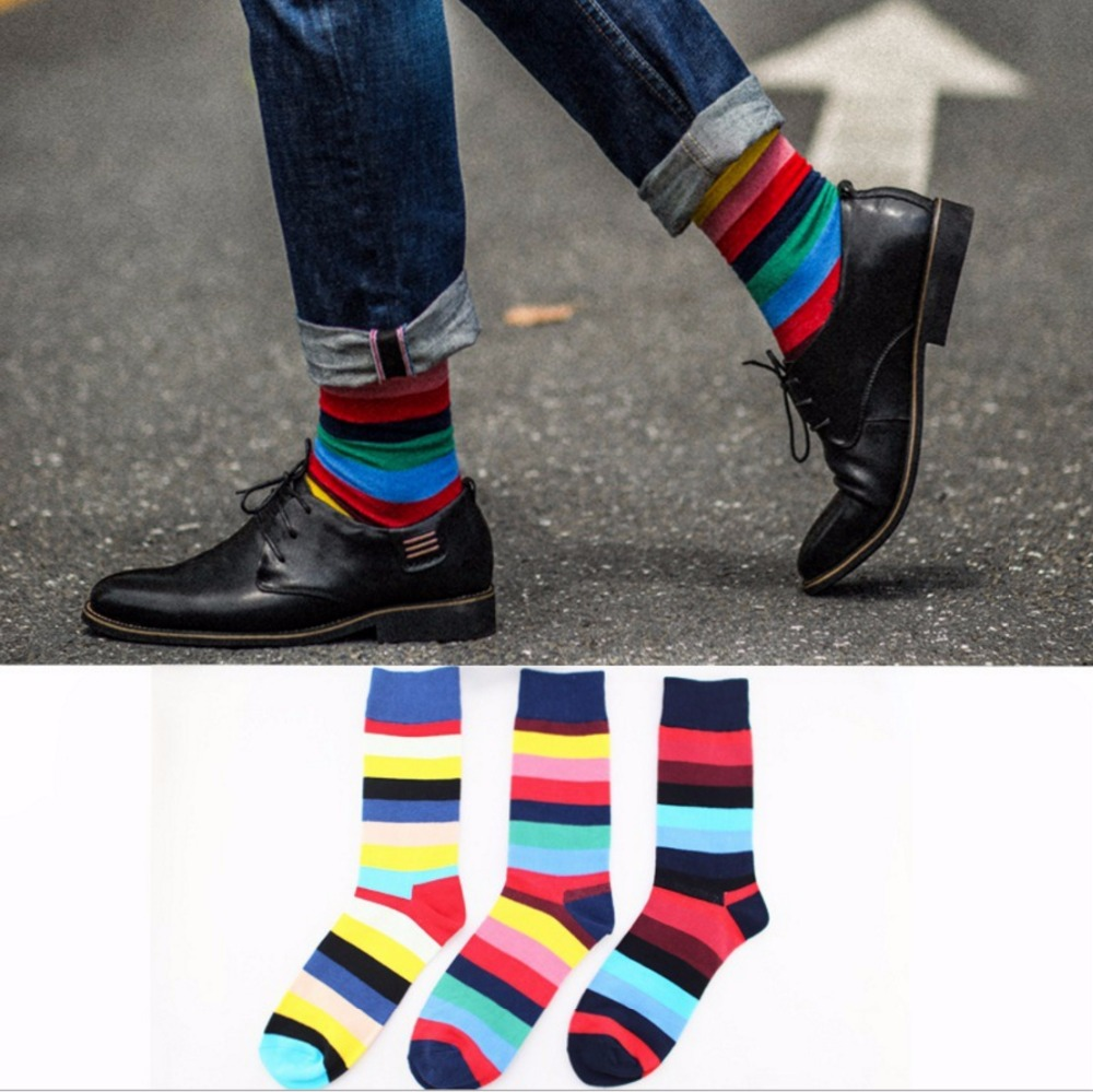 Happy socks mens cotton plaid European version of large size mens 41-46 Mens long socks funny cotton socks