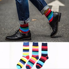 Happy socks mens cotton plaid European version of large size 41-46 Men long personality funny Casual man sock New