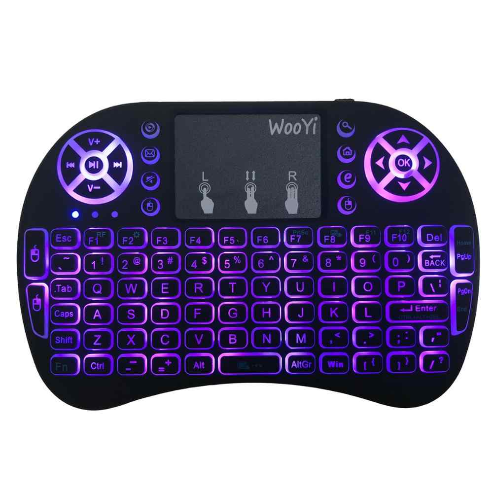 7 Warna Backlit I8 Mini Wireless Keyboard 2.4 GHz Bahasa Rusia 3 Warna Air Mouse dengan Touchpad Remote Control Android TV Box