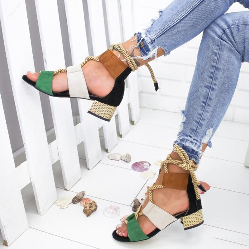 Laamei 2019 New  Espadrilles Women Sandals Heel Pointed Fish Mouth Fashion Sandals Hemp Rope Lace Up Platform Sandal
