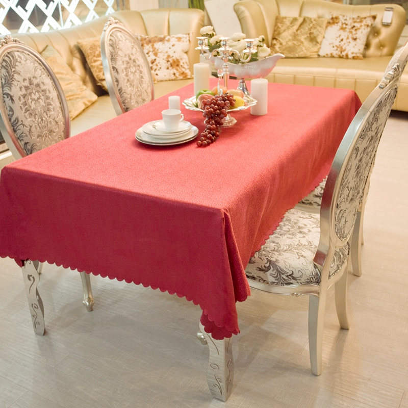 European Western Style Rectangle Small Polyester Dobby Red Joyous Wedding  Tablecloths Hotel Dining Table Round Cloth