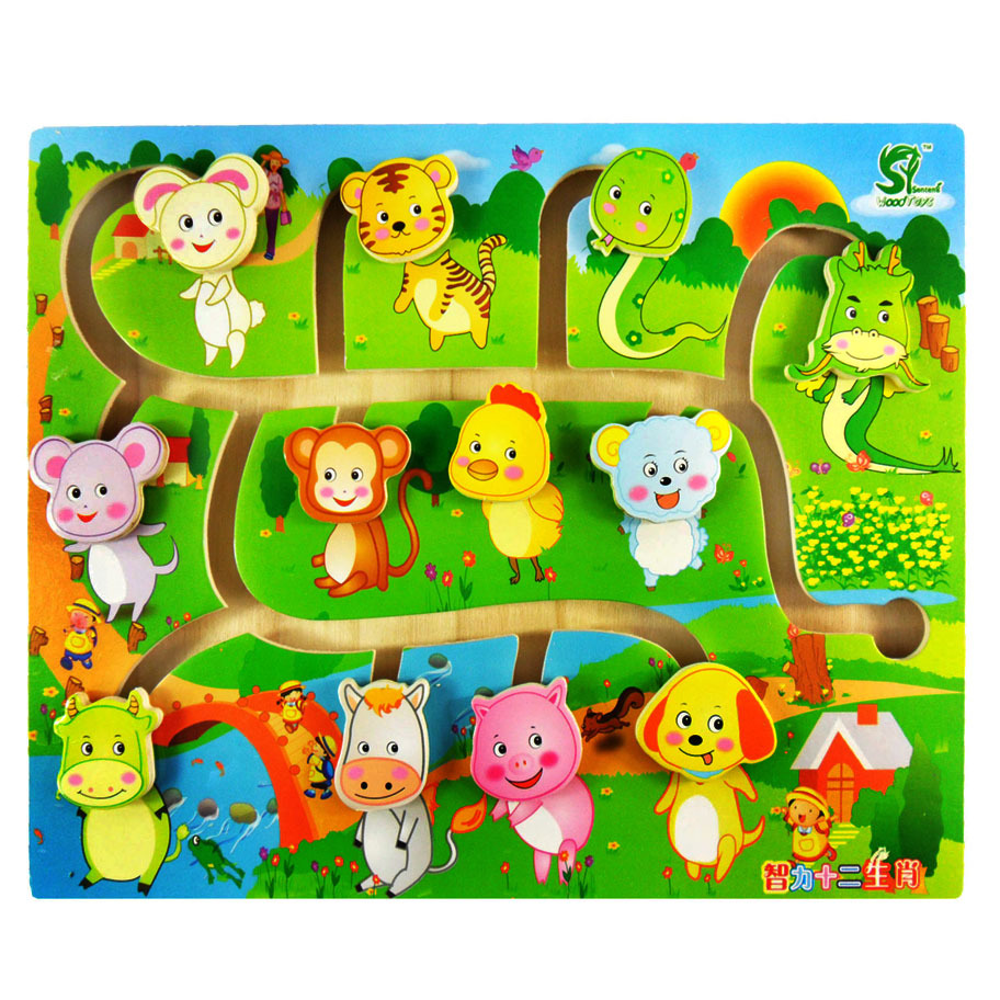 Educational Early Learning Slide Puzzle Kids Wooden Toys for Children Labyrinth Puzzle Animal-Body-Match Maze Intelligence W268