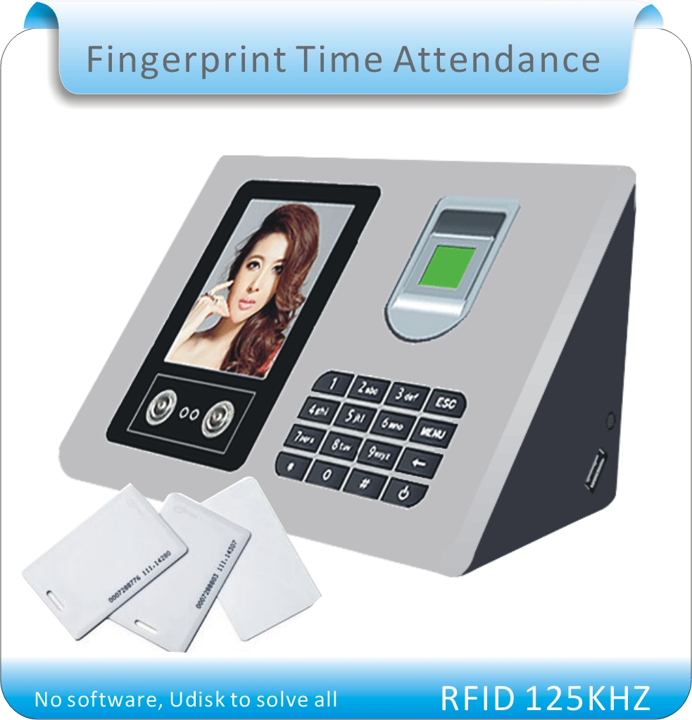 Free Shipping More Language RFID + Fingerprint +face Time Clock / Office Attendance Recorder Timing /Udisk Download+10 RFID