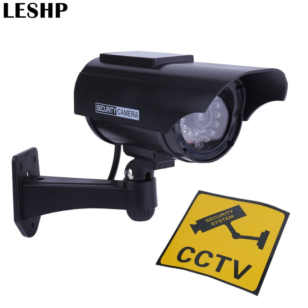 Practical Indoor Outdoor Solar Power Dummy Fake Imitation Home CCTV Surveillance Camera with LED Light Indicator