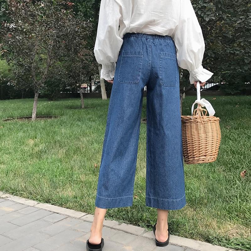 Women wide leg jeans female Korean high waist straight pants large size ankle length elastic waist drawstring jeans for women in Jeans from Women 39 s Clothing