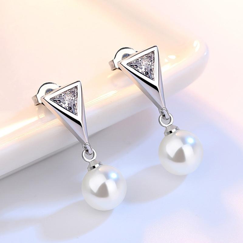 100 925 sterling silver shiny zircon imitation pearl ladies stud earrings wholesale jewelry wedding gift drop shipping in Stud Earrings from Jewelry Accessories