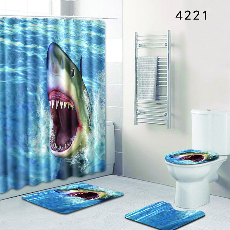 Bath Mat Shark Blue Ocean Bathroom