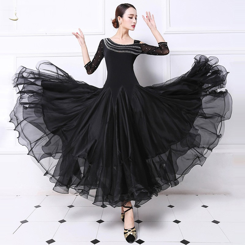 f954d85ff54 Standard Ballroom Dance Dress For Women High Quaity Black and Red  Competition Ballroom Dancing Costume Lady s Flamenco Dresses