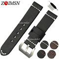 ZLIMSN 22mm 24mm Mens Thick Leather Watchbands Watch Bands Strap Belt Silver Clasp Stainless Steel Buckle relogio Replacement