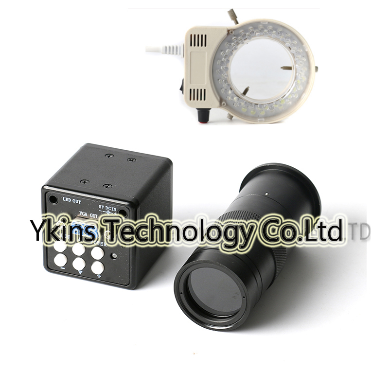 2 in 1 USB VGA Output CCD CMOS Industrial Microscope Camera + HD 100X C-Mount Lens +56 LED Light