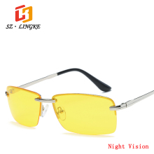 SZLINGKE Men Sport Polarized Night Vision Sunglasses Frameless Metal Brand Classical Fishing Driving Rimless S Eyeglasses UV400