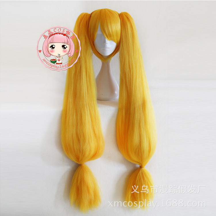 Arena Of Valor 5v5 Arena Game Wig Cosplay Mega Angela Yellow Long Straight Ponytails Halloween Lolita Role Play Hair