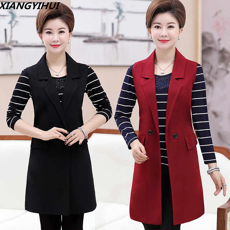 Plus Size 5XL Elegant Fashion Mom s Vest Long Red Women s Sleeveless Jacket  Cotton Women s Vest Feminine f48276a02