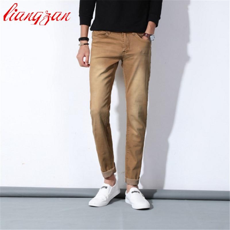 ФОТО Men Colorful Denim Jeans Brand Design Slim Fit Spring Autumn New Cotton Pencil Jeans Fashion Casual Denim Pant F2243