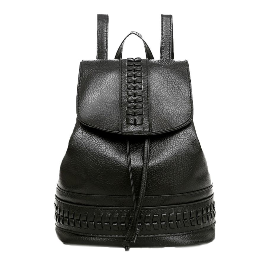Backpack female Women Teenage Bags Leather Girls Backpacks Shoulder Student School Bags Travel Bolsa feminina Black