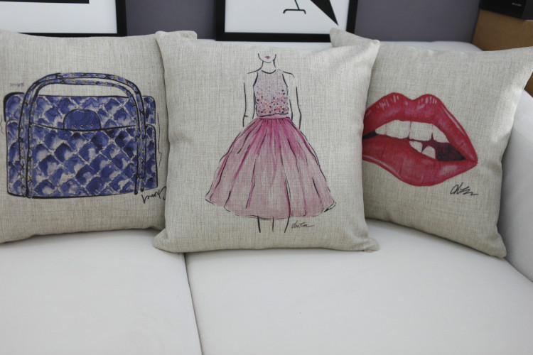 Logo pillow cover watercolor bag Dress Red lips logo simple art Luxurious throw pillow case pillowcase