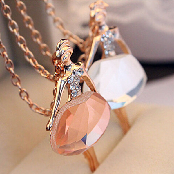 1pcs girls chic fashion crystal long chain ballet ballerina dancer 1pcs girls chic fashion crystal long chain ballet ballerina dancer necklacependant necklace for women suspensions jewelry 2018 in chain necklaces from mozeypictures Image collections