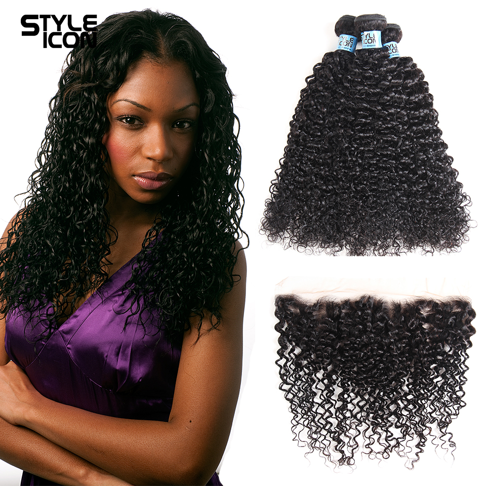 Styleicon 3 Bundles With Frontal Malaysian Kinky Curly Human Hair 13x4 Lace Frontal With Bundles Remy Hair Weave Free Shipping