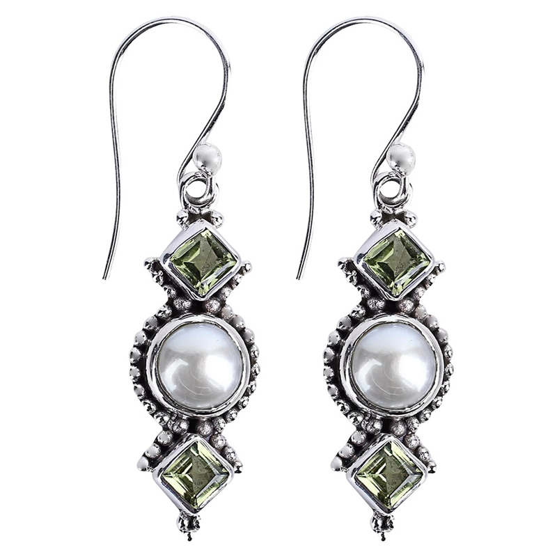 Antique Silver Color Crystal  Earrings Party Fashion Jewelry Vintage Simulation Pearl Dangle Earrings For Women