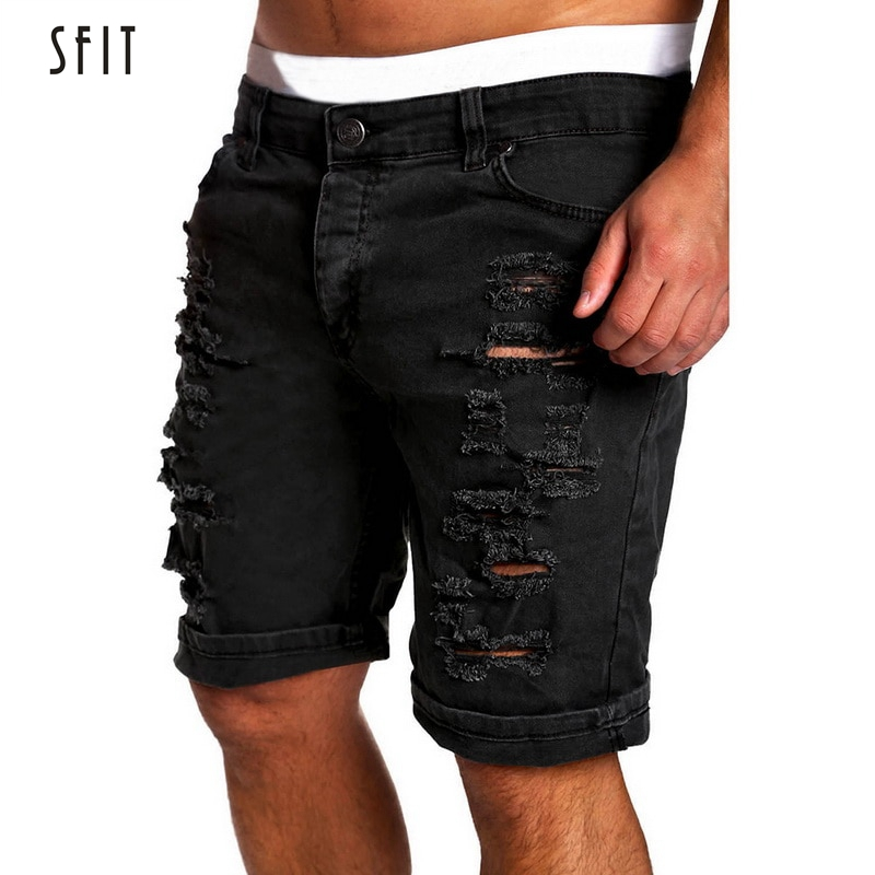 SFIT 2019 Men'S Regular-Fit Denim   Short   Jean   Shorts   Summer Casual Hole Zipper Fly Mid Waist   Shorts   Male Solid Jean   Shorts