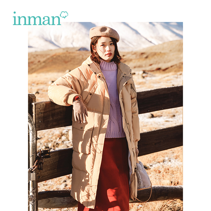 INMAN Winter New Arrival Female Hooded Thick Multi Pockets Casual Long Section   Down     Coat