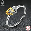 2017 New Arrival Rings 925 Sterling Silver Heart to Heart Ancient Silver & Gold Ring Compatible with Pan Jewelry 7173