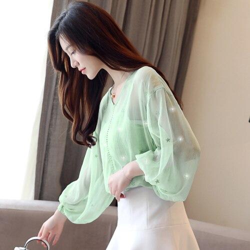 Green Simple Las Bordado Invierno Mujeres Tops Moda gt6f 261 Mujer Gasa De 2018 Blusa Cinco 631 Estrellas Hueco Xingse Nuevo Gt6f Estilo Diseños Otoño Y axw5SzAqq